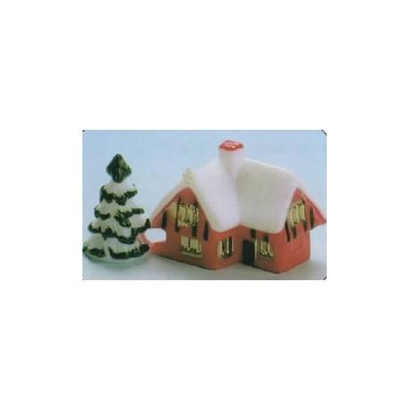maison sous la neige pour decors buche de noel par 72. Black Bedroom Furniture Sets. Home Design Ideas