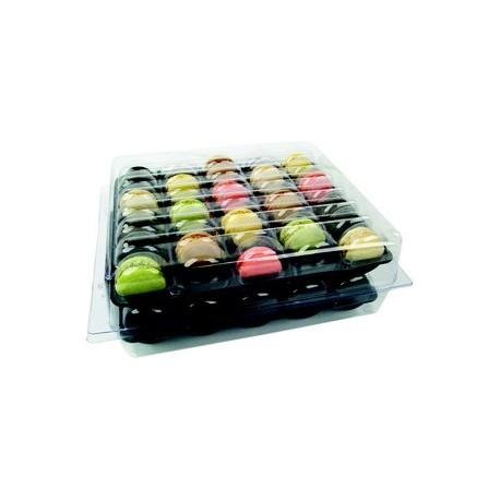 Boîte de 70 macarons, 2 calages de 35 macarons et boîte thermoformée transparente