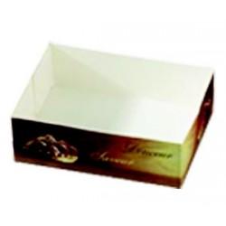 Boite carton imprime a petits fours sans couvercle par 150
