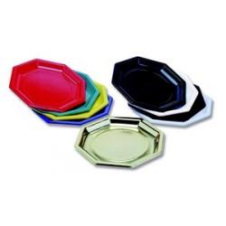 Assiette jetable octogonale or ou argent (x25)