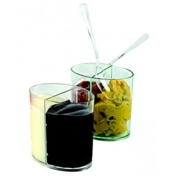 "Verrine ""ovale 2 compartiments"" plastique (x100)"