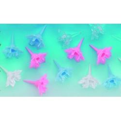 Bobeche fleurette plastique pour bougies torsadées 1 an et 10 ans (x50)