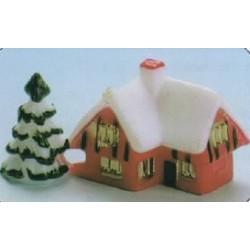 Maison sous la neige pour decors buche de noel par 50