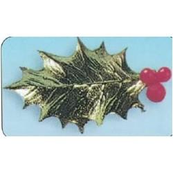 Feuille de houx dorée pour décoration noël par 100