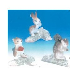 Animaux divers sur buches decoration de noel par 50