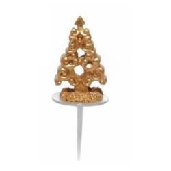 Sapin or baroque en plastique pour décorer vos gâteaux par 48