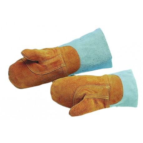 Paire de moufle de protection cuir traite anti-chaleur 250°c