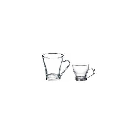 Tasse à boisson chaude en verre trempé, monture inox (x18)