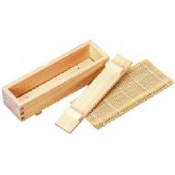 Kit pour sushis-makis boite bois avec natte bambou naturel