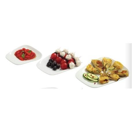 6 assiettes snacking en porcelaine hôtelière