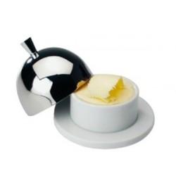 Beurrier en porcelaine avec couvercle en inox
