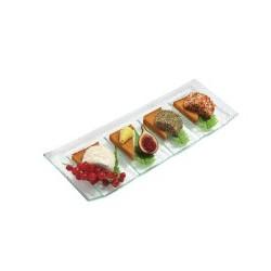 6 assiettes rectangulaires à compartiments en verre de Bohême