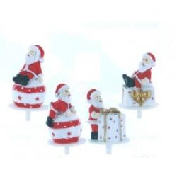 Sachet de 50 Pères Noël sur boules et cadeaux pour décors bûche, gâteau par 50
