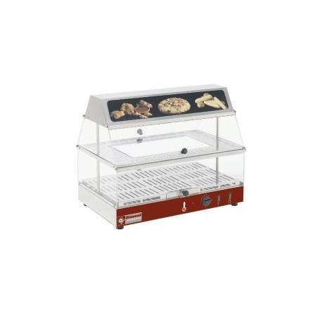 Vitrine/buffet chauffante avec bloc lumineux et 2 etages