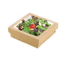 Boîte snacking carré avec couvercle à fenêtre par 25