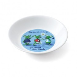 Assiette creuse sourie verte 3 D blanche PLASTOREX (x12)