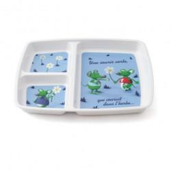 Assiette rectangulaire 3 compartiments sourie verte 3 D blanche PLASTOREX (x12)