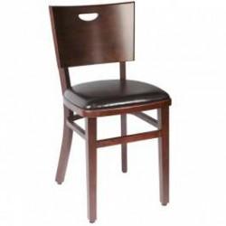 Chaise Bistrot Confort bois wengé et assise simili cuir (par 2)