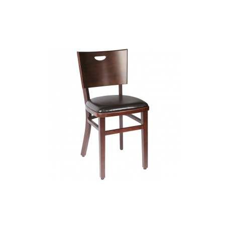 Lot de 2 chaises bistrot confort bois weng assise simili for Chaise bois et simili cuir
