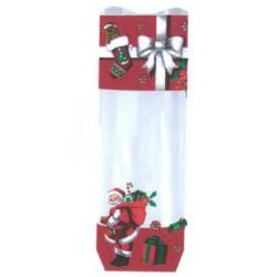 Lot de 100 sacs polypropylènes décor xmas gift avec fond carton