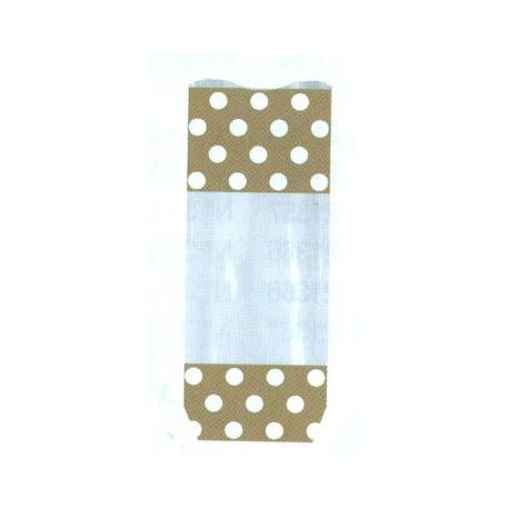 Paquet de 100 sacs polka blanc-or pour chocolat, confiserie fond carton