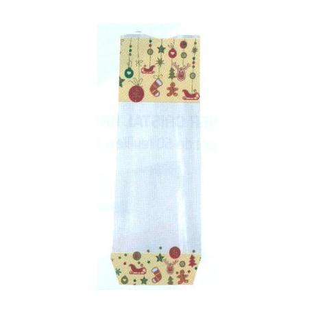 Paquet de 100 sacs polypropylène fond carton, décor pain d'épices pour chocolat, confiserie