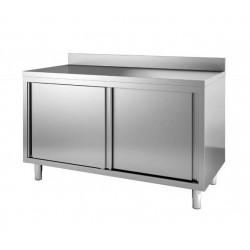 Table armoire meuble neutre avec portes coulissantes et étagère