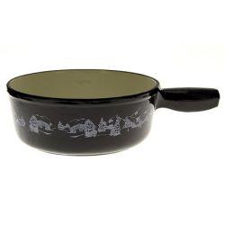 Poêlon à fondue décor vache noir