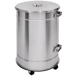 Poubelle 50 litres inox aisi304 avec couvercle sur roues