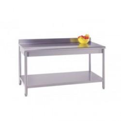 Table inox adossée avec étagère basse