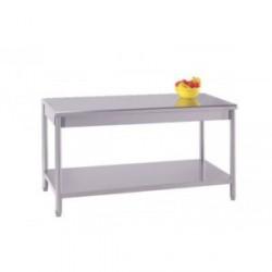 Table inox centrale avec étagère basse