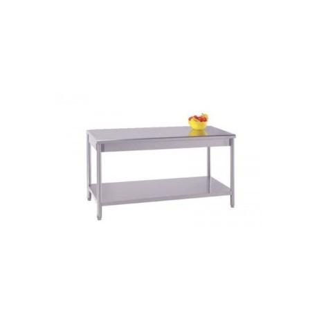 Table inox centrale avec étagère basse démontable(prof. 700mm)