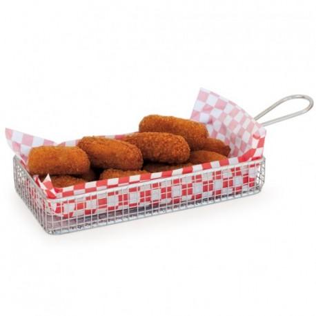 Lot de 6 mini paniers allongés inox pour frites, cromesquis