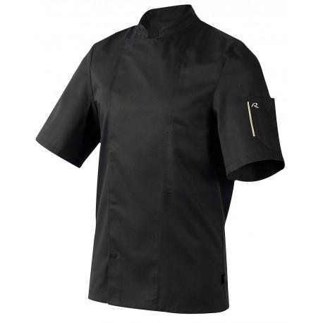 Veste de cuisinier ROBUR Nero noire manches courtes
