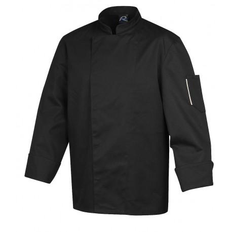 Veste de cuisinier ROBUR Nero noire manches longues