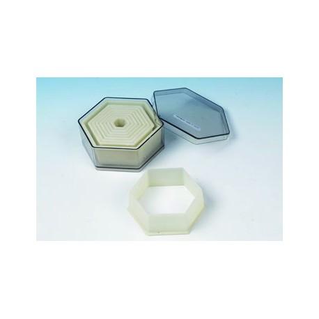 Boite de 9 emporte pieces decoupoirs hexagonaux polyglass