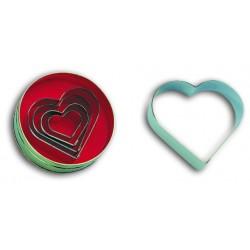 Boîte de 5 emporte pièces découpoirs inox coeur