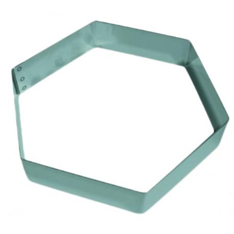 Moule inox forme hexagone pour gâteau mousse hauteur 4.5 cm