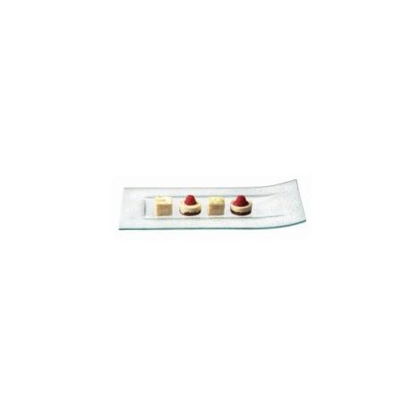 Assiette rectangulaire en verre bord relevé (x6)