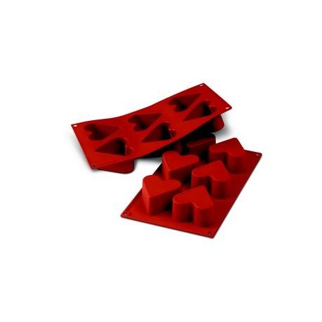 """Plaque moule flexible """"silicon flex"""" 6 coeurs"""