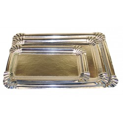Plateau carton rectangle metallise argent (x50)
