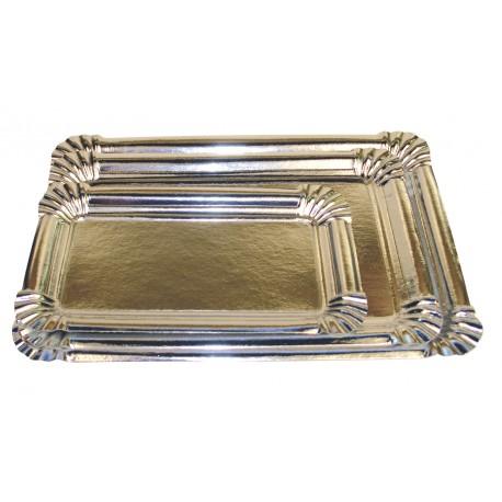 Plateau carton rectangle metallise argent (x50)